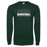 Dark Green Long Sleeve T Shirt-Basketball Repeating