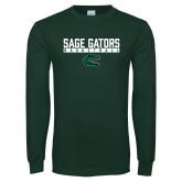 Dark Green Long Sleeve T Shirt-Basketball in Bar