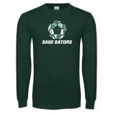 Dark Green Long Sleeve T Shirt-Distressed Soccer Ball