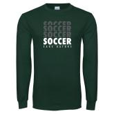 Dark Green Long Sleeve T Shirt-Soccer Repeating