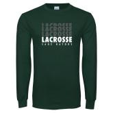 Dark Green Long Sleeve T Shirt-Lacrosse Repeating