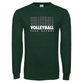 Dark Green Long Sleeve T Shirt-Volleyball Repeating