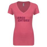 Next Level Ladies Vintage Pink Tri Blend V Neck Tee-Sage Gators Wordmark Hot Pink Glitter