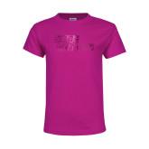 Youth Cyber Pink T Shirt-Sage Gators Wordmark  Foil