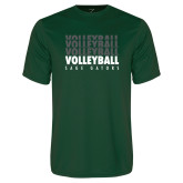 Performance Dark Green Tee-Volleyball Repeating