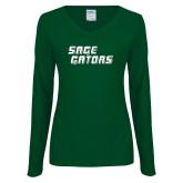 Ladies Dark Green Long Sleeve V Neck Tee-Sage Gators Wordmark