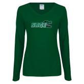 Ladies Dark Green Long Sleeve V Neck Tee-Sage w/Gator Head