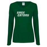 Ladies Dark Green Long Sleeve V Neck Tee-Sage Gators Wordmark White Soft Glitter