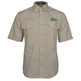 Khaki Short Sleeve Performance Fishing Shirt-Sage Gators Wordmark