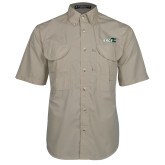 Khaki Short Sleeve Performance Fishing Shirt-Sage w/Gator Head