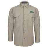 Khaki Long Sleeve Performance Fishing Shirt-Sage Gators Wordmark
