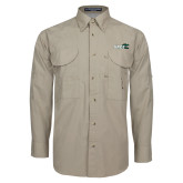 Khaki Long Sleeve Performance Fishing Shirt-Sage w/Gator Head
