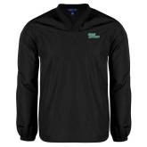 V Neck Black Raglan Windshirt-Sage Gators Wordmark