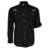 Columbia Bahama II Black Long Sleeve Shirt-Sage Gators Wordmark