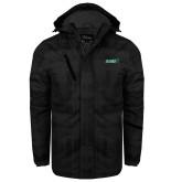 Black Brushstroke Print Insulated Jacket-Sage w/Gator Head