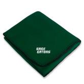 Dark Green Arctic Fleece Blanket-Sage Gators Wordmark