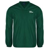 V Neck Dark Green Raglan Windshirt-Sage Gators Wordmark