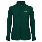 Ladies Fleece Full Zip Dark Green Jacket-Sage w/Gator Head