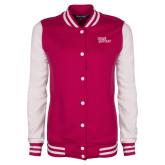 Ladies Pink Raspberry/White Fleece Letterman Jacket-Sage Gators Wordmark