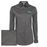 Ladies Grey Tonal Pattern Long Sleeve Shirt-Sage Gators Wordmark