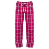 Ladies Dark Fuchsia/White Flannel Pajama Pant-Sage Gators Wordmark