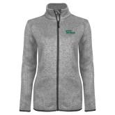 Grey Heather Ladies Fleece Jacket-Sage Gators Wordmark