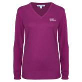 Ladies Deep Berry V Neck Sweater-Sage Gators Wordmark