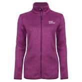 Dark Pink Heather Ladies Fleece Jacket-Sage Gators Wordmark