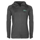 Ladies Sport Wick Stretch Full Zip Charcoal Jacket-Sage Gators Wordmark