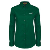 Ladies Dark Green Twill Button Down Long Sleeve-Sage w/Gator Head