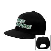 Black Flat Bill Snapback Hat-Sage Gators Wordmark