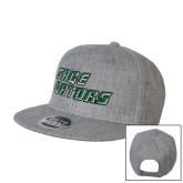 Heather Grey Wool Blend Flat Bill Snapback Hat-Sage Gators Wordmark