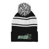 Black/White Two Tone Knit Pom Beanie w/Cuff-Sage w/Gator Head