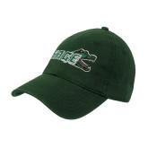 Dark Green Twill Unstructured Low Profile Hat-Sage w/Gator Head