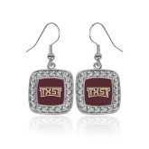Crystal Studded Square Pendant Silver Dangle Earrings-TXST Texas State