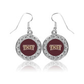Crystal Studded Round Pendant Silver Dangle Earrings-TXST Texas State