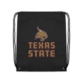 Black Drawstring Backpack-Texas State Logo Stacked