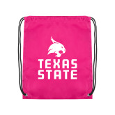 Pink Drawstring Backpack-Texas State Logo Stacked