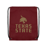 Maroon Drawstring Backpack-Texas State Logo Stacked