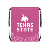 Nylon Pink Bubble Patterned Drawstring Backpack-Texas State Logo Stacked