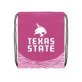 Nylon Zebra Pink/White Patterned Drawstring Backpack-Texas State Logo Stacked