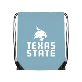 Light Blue Drawstring Backpack-Texas State Logo Stacked