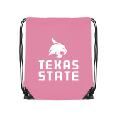 Light Pink Drawstring Backpack-Texas State Logo Stacked