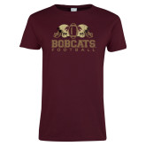 Ladies Maroon T Shirt-Bobcats Football