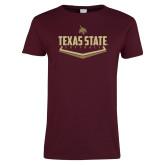 Ladies Maroon T Shirt-Texas State Softball
