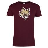 Ladies Maroon T Shirt-Mascot Head