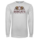 White Long Sleeve T Shirt-Bobcats Football