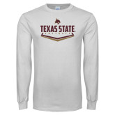 White Long Sleeve T Shirt-Texas State Softball