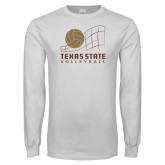 White Long Sleeve T Shirt-Texas State Volleyball