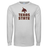 White Long Sleeve T Shirt-Texas State Logo Stacked